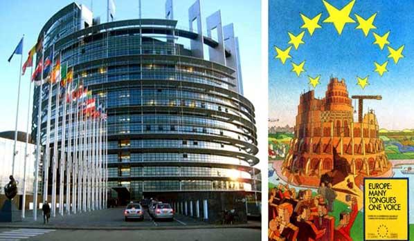 Edifício do Parlamento Europeu e poster